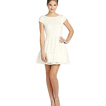 B. Darlin Cap-Sleeve Foil Lace Skater Dress - Cream/Gold