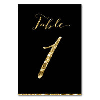 Gold Foil And Black Table Numbers