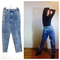 90s Mom Jeans Stonewashed High Waist MC Hammer Comfy 1990s Grunge Hipster Jeans size 10