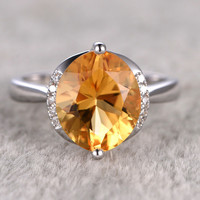10mm Olive Shape Citrine Engagement Ring Diamond Wedding Ring 14K White Gold Plain Band