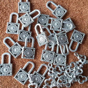 Key Charms - Locket Charms - Small Charms - Jewelry Supplies - Charm Bracelet Supplies - Supply Sale - Silver Colored Charms - Charm Sale