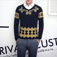 Luxury Men V Neck Slim Fit Knit Sweater SOS
