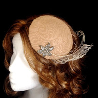 Ivory felted albino peacock sword feather cocktail derby hat hair fascinator