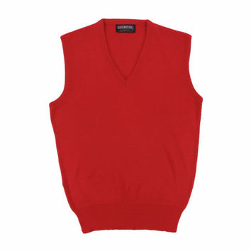 Vintage Red V Neck Sweater Vest - Jumper Ivy League Menswear Puritan Prep Trad Men's Size Large