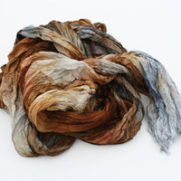 Simply Versailles-  brown, cognac, grey silk scarf.