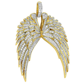 Guardian Angel Wings Charm Simulated Diamonds Guidance Gold Plate Pendant Classy