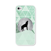 Geometric Phone Case - Mint Green Moon Wolf Geometric iPhone 4 / 4s - 5 / 5s - 5c Case - iPhone 5c Case