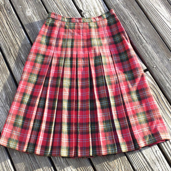 "Vintage Red Tartan Plaid Wool Pleated Skirt - Waist 26"" Length 27"" Lined"