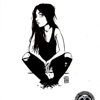 Waiting, brush pen sketch on a4 bristol board Original comic cartoon pin up ink sketch bloody plum pop art girl woman gothic