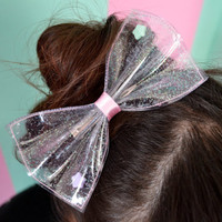 Awesome transparent fairy kei Bow with glitter