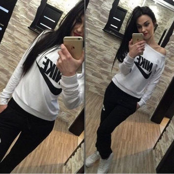"Women Fashion ""NIKE"" Print Hoodie Top Sweater Pants Sweatpants Set Two-Piece Sportswear BLUE"