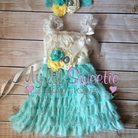 Light aqua ivory yellow dress, sash , 3pc set , headband, Lace dress, baby girl outfit, special occasion dress, toddler dress, girls dress,