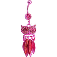 Pink Gem Pink Stainless Steel Astute Owl Dangle Belly Ring | Body Candy Body Jewelry