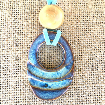 Handmade Carved Oval Ceramic Pendant Necklace on Light Blue Suede, Handmade Necklace, Boho Necklace, Blue Jewelry, Suede Necklace