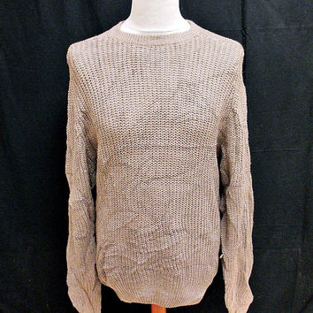 Vintage 90s Rough Cut Plain Grey Shaker Knit Jumper Sweater Medium
