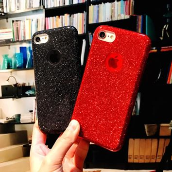 Luxury Shining Red Glitter Case For iPhone 8 8 Plus 3 In 1 Hybrid Soft TPU+Hard PC Back Cover For iPhone 6 6S 7 Plus X Case Capa