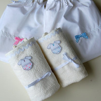 PRACTICAL GIFT (very light only 50gr) Diaper Mat, Cute Applique embroidery with zig zag finish,waterproof cotton towel