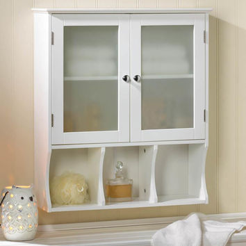 Bathroom Wall Cabinet-White Wood Frosted Glass Doors Bottom Cubby Shelf