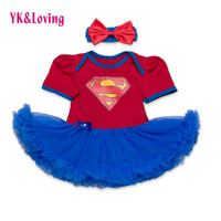 New Style Newborn Dress Baby Clothes Girls Superman Blue Rompers  Ruffle Toddler Tutu Dresses Girl Party Clothes for Birtthday
