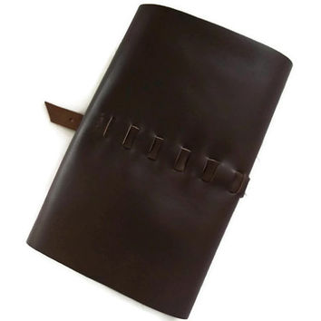 Leather Notebook Pencil Case, Brown, Hand Stitched, Notebook Included