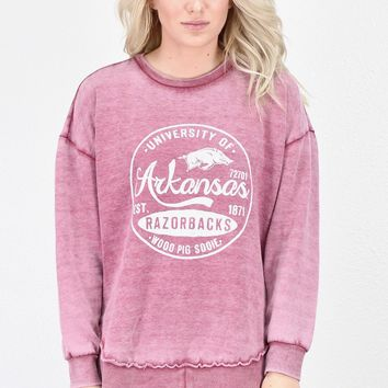 Arkansas Hi-Lo Fleece Sweatshirt Tunic {Washed Red}