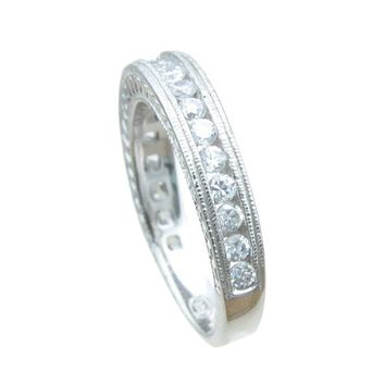 Plutus Brands 925 Sterling Silver Antique Style Wedding Band 0.25 Carat Weight- Size 7