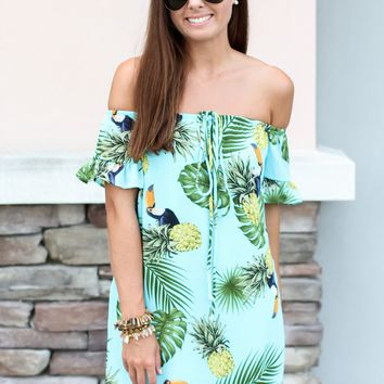 Toucan Off The Shoulder Dress