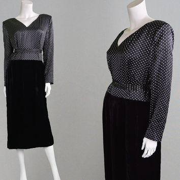 Vintage 80s DONALD CAMPBELL Silk Satin & Velvet Polka Dot Dress Couture Dress Black and White Long Sleeve Evening Dress Party Dress