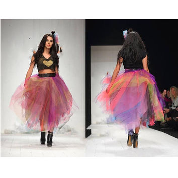 Gothic Mix Color Tulle Skirt Puffy Tiered High Low Rainbow Tutu Skirt For Women Floor Length Fashion Women Clothing Unique