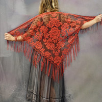 Vintage sheer lace shawl / russet against brown fringed floral print wrap / dreamy salsa tango hippie triangle