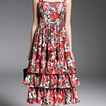 Everything Is Rosy Red White Green Rose Floral Sleeveless Square neck Tiered Ruffle Midi Dress