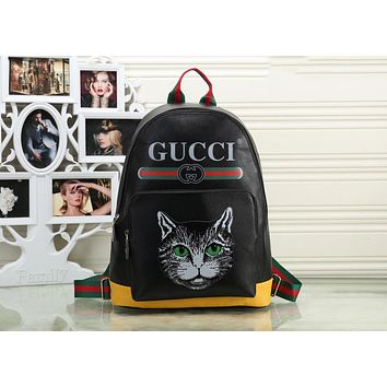 Gucci New Trending Women Stylish Leather Letter Cat Head Pattern Shoulder School Bag Backpack Black I-OM-NBPF