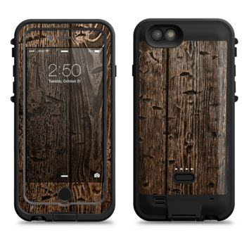 The Rough Textured Dark Wooden Planks  iPhone 6/6s Plus LifeProof Fre POWER Case Skin Kit