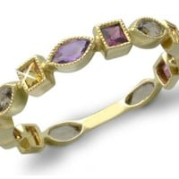 10k Yellow Gold Smoky Quartz, Amethyst, Citrine and Rhodolite Garnet Geometric Shaped Ring
