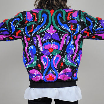 SILK vtg 80's KALEIDOSCOPE Sequined bomber jacket black Paisley rare Abstract art • small / medium