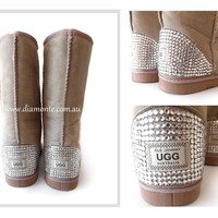 Synthetic Beige UGG Boots Tall Featuring Swarovski Crystals