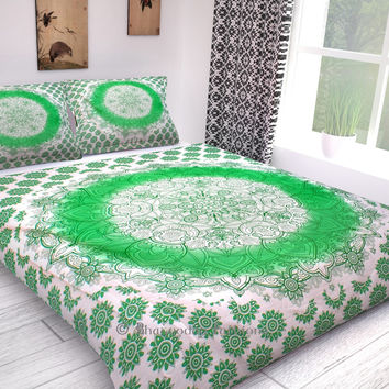 Indian Duvet Cover Ombre Mandala Quilt Cover Reversible Cotton Bedding Hippy Tapestry Decor