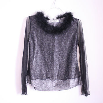 90s Sheer Mesh Glitter Marabou Feather Crop by redleatheryellow
