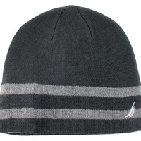 Nautica Unisex Basic Black/Gray 2 Stripes Beanie Hat