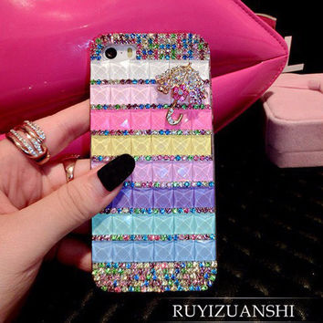diamond lips stick bling capa Coque Case for iPhone 7 plus 7 6 6s plus 5 5s se 4 4s 5c 3G 3GS Rhinestone carcasa Crystal fundas