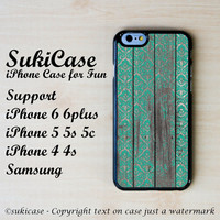 IPHONE 6 CASE Teal Damask On Wooden Byzantine Middle Age iPhone Case iPhone 5s Case Samsung Galaxy S4 S3 Cover iPhone 5c iPhone 4s  iPhone 5