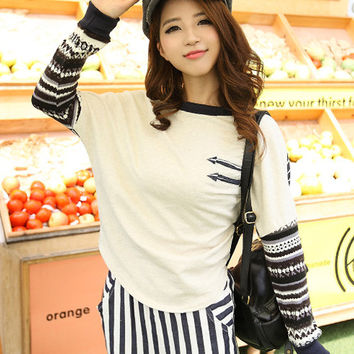 Stripes Accent Long Sleeve T-Shirt