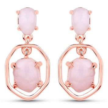 LoveHuang 2.57 Carats Genuine Pink Opal Window Earrings Solid .925 Sterling Silver With 18KT Rose Gold Plating