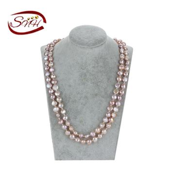 SNH 8mm baroque AA purple 925silver 100% natural pearl necklace design of baroque shape pearls
