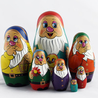 Matryoshka Russian Nesting Doll Babushka Beautiful Dwarf Seven Dwarfs Set 7 Pieces Pcs Hand Painted Handmade Souvenir Gift Handicraft