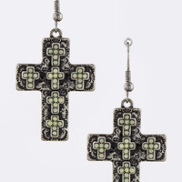 Antique Cross Beaded Cross Earrings