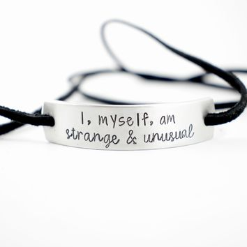Custom Hand Stamped Aluminum and Suede Leather Wrap Bracelet