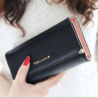Black Fashion Lady Women Purse Long Wallet Bags PU Handbags Card Holder Gift