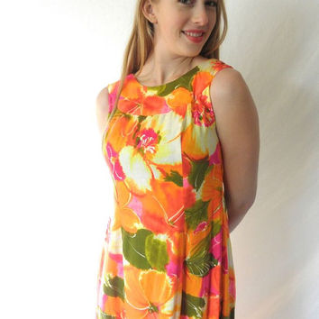 Let's Have a Luau Vintage 60s 70s POMARE of Hawaii Flower Power Barkcloth Maxi Dress // Tiki Day Glow Size 8 // Watteau Back Panel