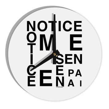 "Notice Me Senpai Artistic Text 8"" Round Wall Clock"